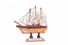 Sailboat. Small wood sailboat on white Stock Images