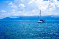 A sailboat in the South Pacific Ocean Royalty Free Stock Photography