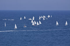 Sailboat sport regatta on blue water ocean summer Stock Images