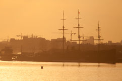 Sailboat in St. Petersburg at sunset Stock Photo