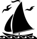 Sailboat. Stencil. vector illustration for web Stock Photo