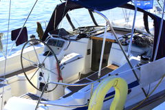 Sailboat stern deck area Royalty Free Stock Image