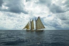 Sailboat in storm. Overcast seaside scene with one sailboat Royalty Free Stock Image