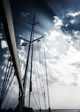Sailboat in storm stock photo