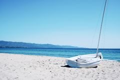 Spiaggia del Poetto beach in Sardinia, Italy Stock Photos