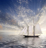 Sailboat Sun and sky Stock Image