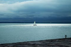 Sailboat in Sunlight Royalty Free Stock Photography