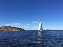 Sailboat Sunny day autumn gorgeous Stock Photography