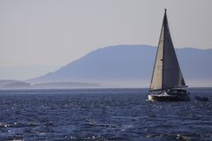 Sailboat on a sunny day. Sailboat, Pacific Ocean , San Juan Island, Anacortes  puget sound, Washington Stock Image