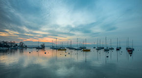Sailboat and Sunrise Stock Image