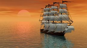 Sailboat in the sunset Royalty Free Stock Images
