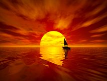Sailboat at sunset vector illustration
