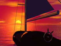 Sailboat and sunset Stock Photography