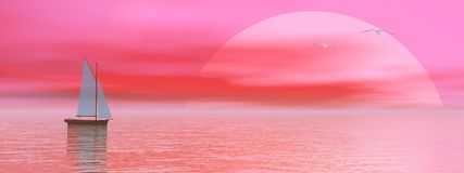 Sailboat by sunset Royalty Free Stock Images