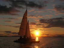 Sailboat at sunset. With cloudy sky royalty free stock image