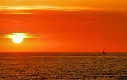 Sailboat Sunset Stock Photo