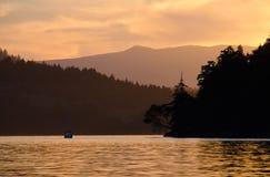 Sailboat sunset. Sunset at anchorage on the British Columbia coast Stock Images