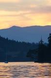 Sailboat sunset. Sunset at anchorage on the British Columbia coast Stock Photography