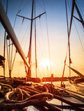 Sailboat in sunset light Stock Photography