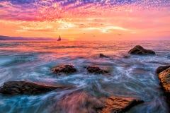 Sailboat Sunset Ocean Birds Royalty Free Stock Image