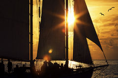 Sailboat at sunset Stock Image
