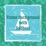 Sailboat on Ocean. Sailboat Swims across the Ocean, River or Lake, White Silhouette on Abstract Blue and Green Background with Rings and Square Frame. Vector vector illustration