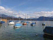 Sailboat in Switzerland. Boat on lake lucern in Switzerland Stock Photography