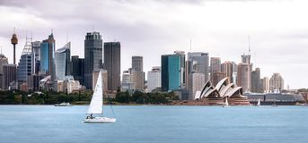 A sailboat in Sydney Harbour, Australia. stock photo