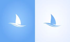 Sailboat symbol on white and blue background Royalty Free Stock Image