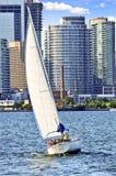 Sailboat in Toronto harbor royalty free stock image