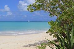 Sailboat on the Tranquil Caribbean Sea Royalty Free Stock Photos