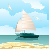 Sailboat. Tranquil scene with sailboat on water with fluffy clouds Royalty Free Stock Image