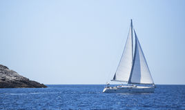 Sailboat trip on sea. Luxury yachts, sea voyages. Joy. Stock Photos