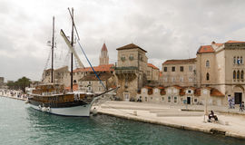 Sailboat. Trogir. View of the marina - yacht harbor and apartment houses from the boat in Trogir, Croatia Royalty Free Stock Photography