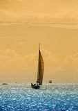 Sailboat in twilight Stock Photo