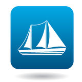 Sailboat with two masts icon, flat style Royalty Free Stock Photo
