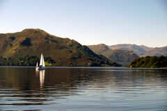 Sailboat on Ullswater stock photo