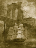 Sailboat under the Brooklyn bridge Stock Images
