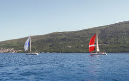 Sailboat under full sail. Stock Image