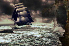 Sailboat on unsettled sea. A sailboat navigating on an unsettled sea, under clouds, close to the   high cliffs of the coast Royalty Free Stock Images