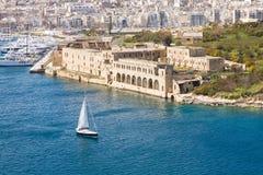 Sailboat, Valletta, Malta. A sailboat in the Marsamxett Harbour of the city of Valletta on the island of Malta Royalty Free Stock Image