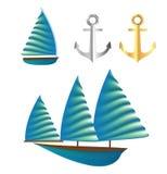 Sailboat vector desing element for summer season. Stock Photos
