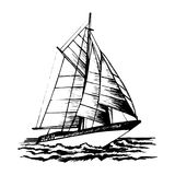 Sailboat vector sketch. Isolated and stylized waves. Sea yacht goes on waves vector illustration