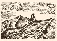 Sailboat vector sketch swim in a storm on the big waves. Royalty Free Stock Photo