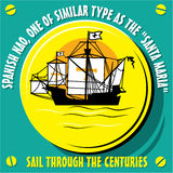 Sailboat Vessel a Native of Spanish Nao. Sail Through the Centuries. Sailboat Vessel a Native of Spanish Nao, one of similar type as the Santa Maria. Vector royalty free illustration