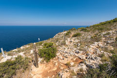 Sailboat and views of Javea sea from San Antonio Cape Stock Photo