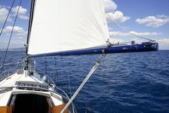Sailboat vintage sailing blue sea ocean Stock Photo