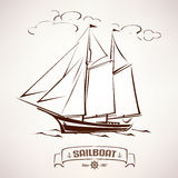 Sailboat, vintage wooden ship Royalty Free Stock Photography