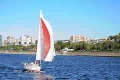 Sailboat on the Volga river Stock Photos
