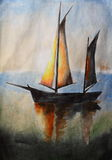 Sailboat - watercolor painting Stock Photography